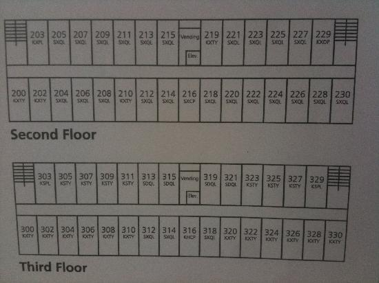 Hampton Inn Belle Vernon : room map 2nd 3rd floors