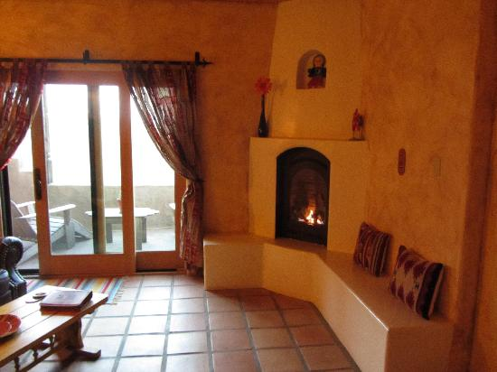 Wild Coyote Estate Winery Bed & Breakfast: Wonderful to have the fireplace heating up the room.