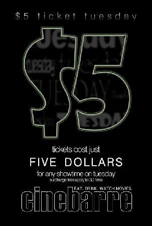 Cinebarre - Mount Pleasant: $5 Tuesday