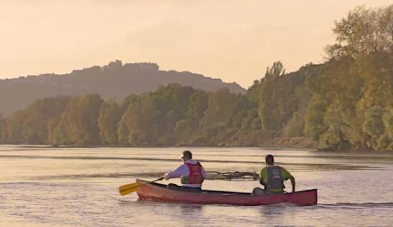 canoeing on the loire at sunset