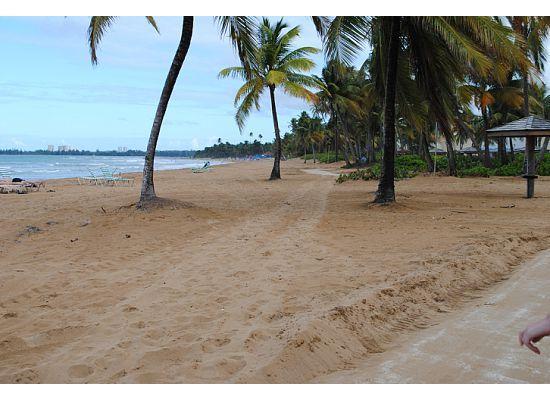 The Ocean Villas: view of beach looking towards the resort