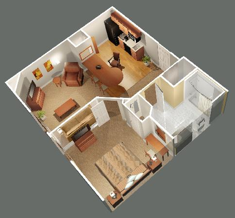 Candlewood Suites Winchester: One Bedroom Suite Layout