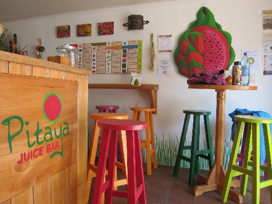 Inside the very colorful Pitaya Juice Bar