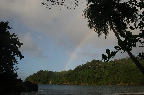 Rainbow after downpour at Englishman's Bay