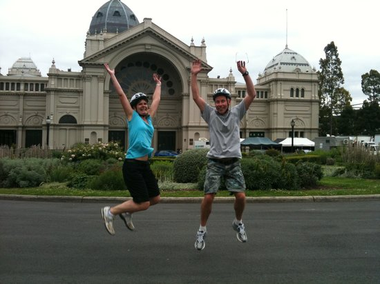 Melbourne By Bike: Tony & Julie happy to see our Royal Exhibition Buildings