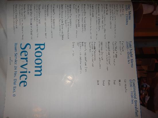 Excellence Resort Room Service Menu