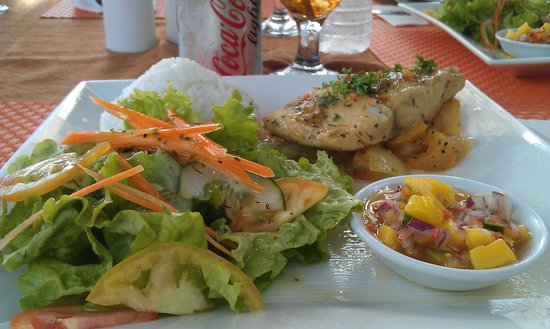 Cafe del Mar : Grilled MahiMahi with Tangy Philippine Mango Salsa, steamed rice and salad greens