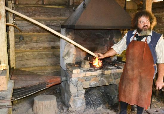 Hickory Ridge Living History Museum : At the forge in the blacksmith shop