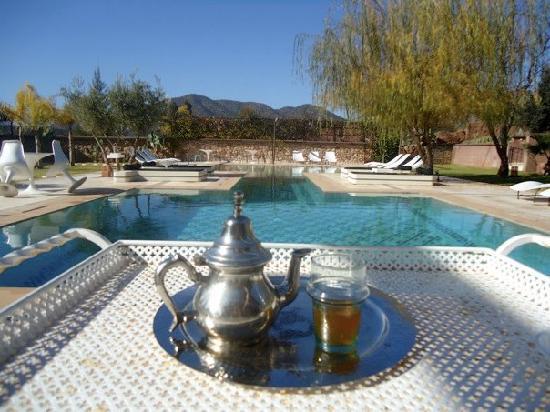 Domaine Malika: Welcome tea, pool-side