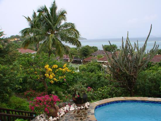 View of the gardens, pool, tennis court, and Mahoe Bay from the deck of Villa del Sole  Video to