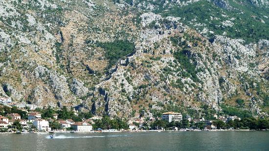 Kotor Bay Tours: Genau hinschauen - Die Stadtmauer geht oben an den Felsen lang!
