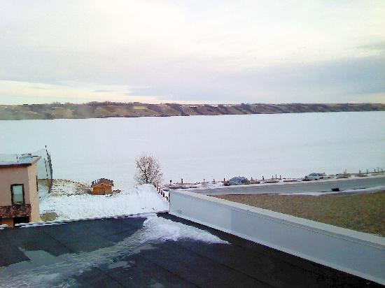 Manitou Beach, Canada: View from Lakeside Room in January.