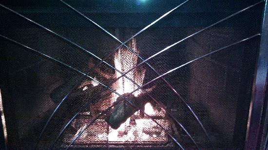 """Logan's Roadhouse: fireplace in the """"garage"""""""
