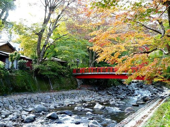 Izu, Japan: Red Bridge over Katsura River