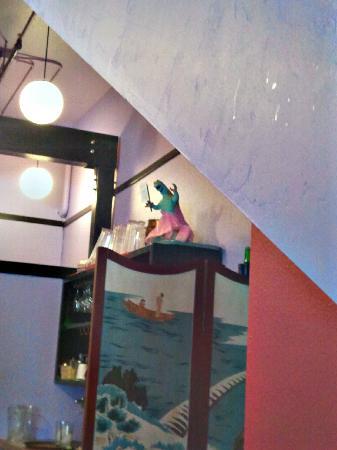 Wasabi Sushi Bar: funny to see Godzilla in a dress.
