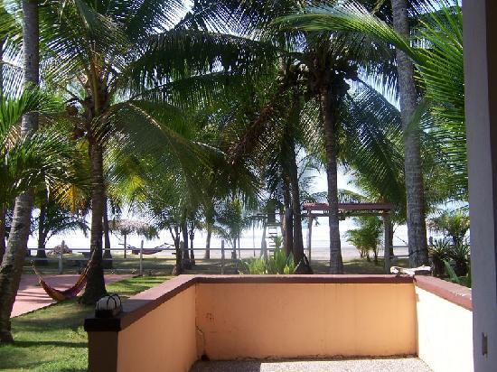 Encantada Ocean Cottages: View of beach from veranda