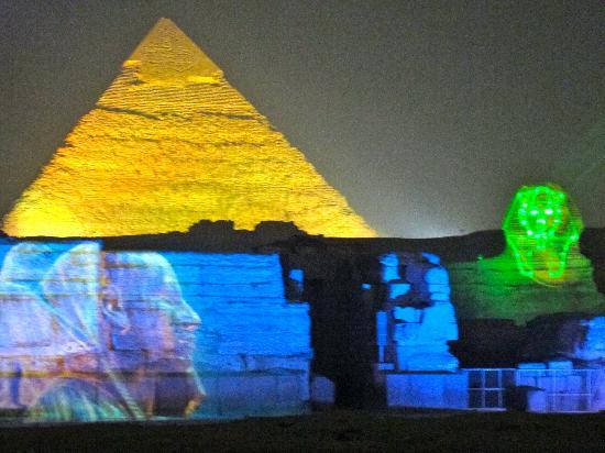 Pyramids show: Evening colours....