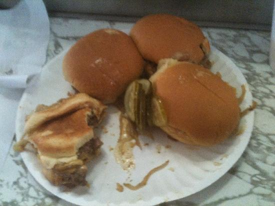 """White Manna: Plate full of burgers, """"before"""""""