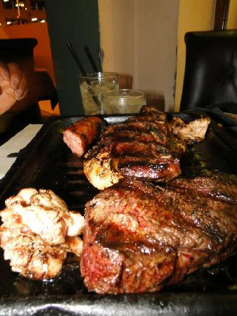 Buenos Aires Grill: Mixed grill, included steak, short ribs, beef sweetbreads, sausage, and chicken