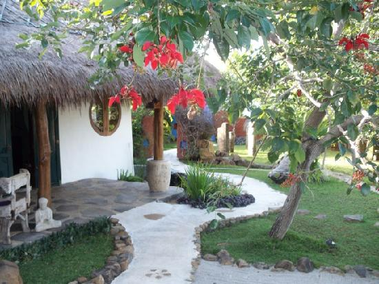 Katana Villa: Bright red flowers blooming in front of Family suite