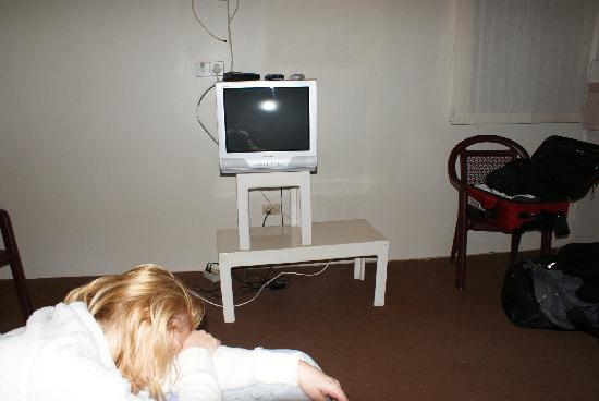 Mariners Negril Beach Club: high tech entertainment unit.  Exposed wires add to the decor
