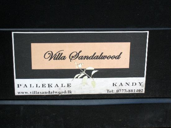 Villa Sandalwood: sign