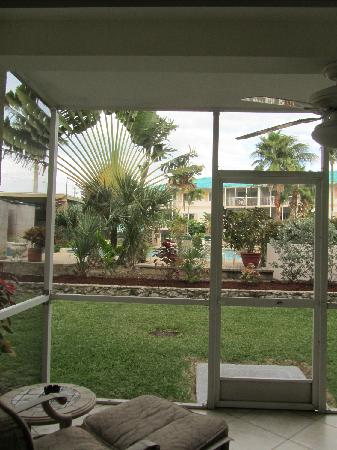 7 Mile Beach Resort and Club: View out from screened porch.