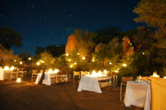 Singita Lebombo Lodge: dinner set up for us