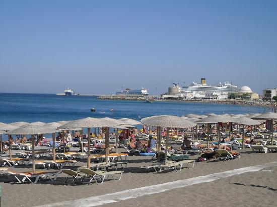 Hotel Mediterranean: view from hotel to Mandraki harbour