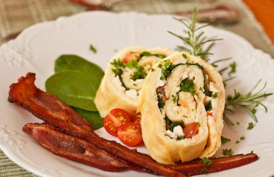 Greenlake Guest House: Rolled Omelet with Feta, Baby Spinach, & Tomatoes