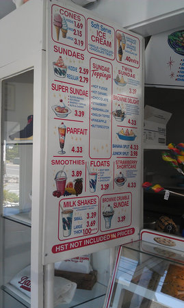 Dan's Ice Cream Shoppe: the menu