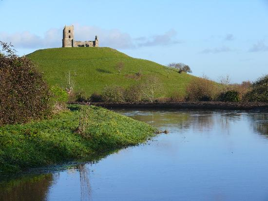 Burrow Mump: The River Tone joining the River Parret below the Mump