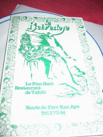 Le Belvedere: menu