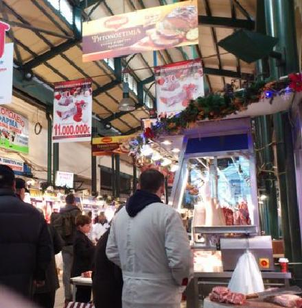 Context Athens Tours : The meat section of the Athens Central Market