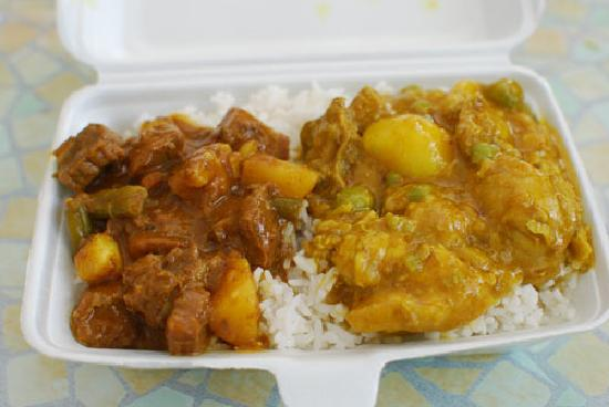 Coco Rouge Take Away and Cafe: Lecker kreolische Stew/Curry-Kombination