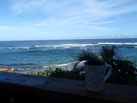 Villa Tropical Oceanfront Apartments on Shacks Beach: View from Villa Tropical with morning coffee