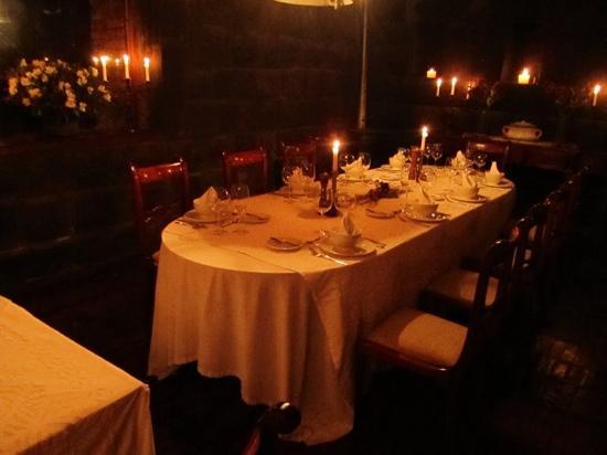Hacienda San Agustin De Callo: the dining room in the Incan temple area.