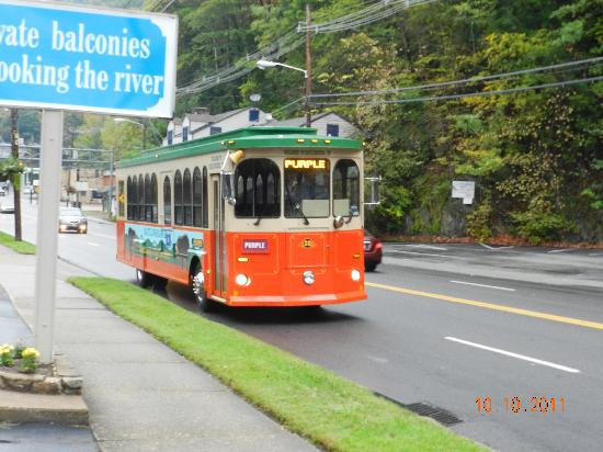 Trolley Stops Right In Front Of The Motel Picture Of