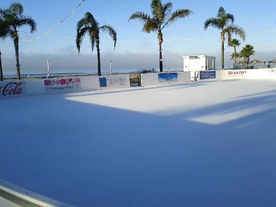 Hotel Del Coronado Ice Skating Rink With Beach In Background