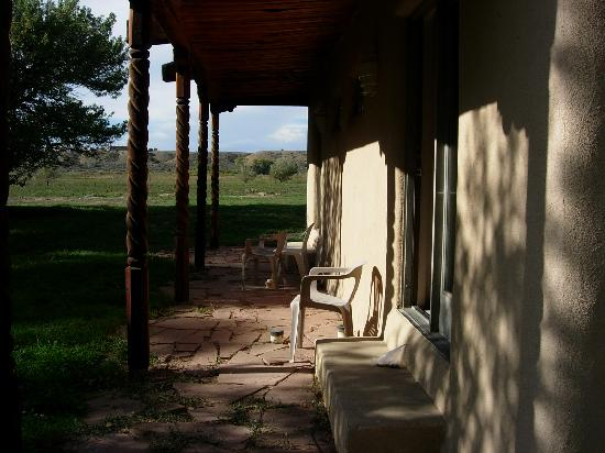 Taos Country Inn: The back patio outside the downstairs room