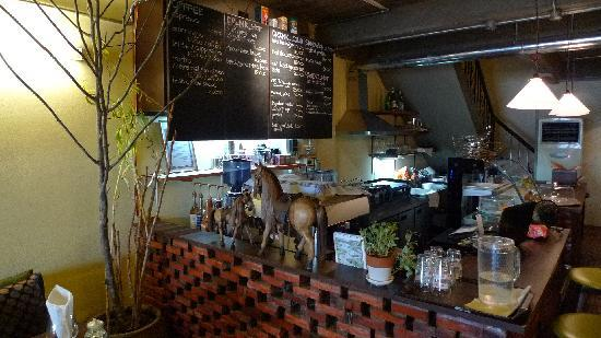 Cafe Nomad: view to counter & menuboard