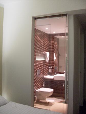 Wellness Hotel Green Paradise: Blick vom Zimmer in die Dusche mit Klarsichtwand