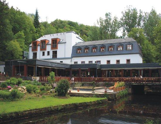 Manderscheid, Germany: Gartenansicht Hotel Heidsmühle