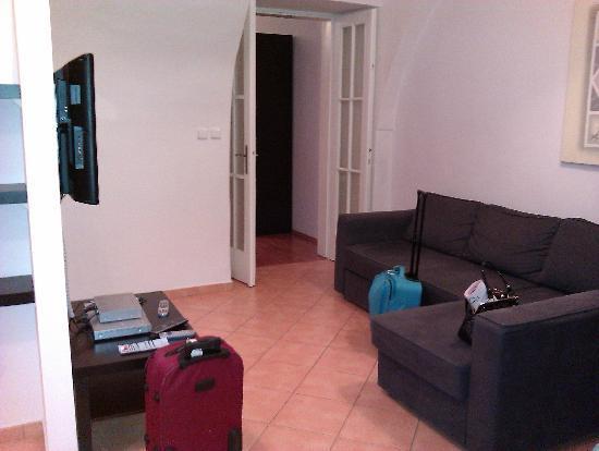 แฮปปี้ ปราก อพาร์ตเม้นท์: The living area and flatscreen tv.