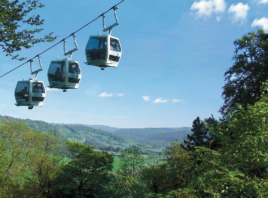 The Heights of Abraham'sCable cars over the Derwent Valley, Matlock Bath Peak District, Derbyshi