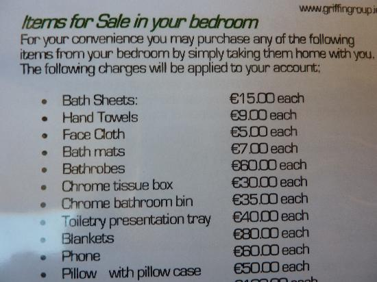 Hotel Kilkenny: Should you feel compelled to remove items from your room!!
