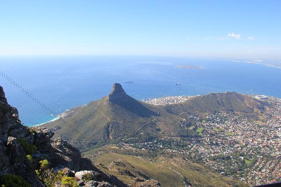 Cape Town Central, South Africa: Looking down on Cape Town from the top of Table Mountain