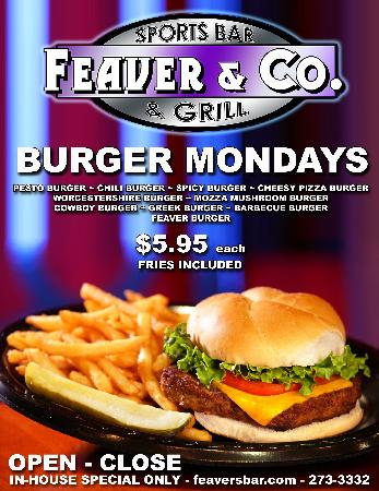 Feaver & Co. Sports Bar & Grill: Burger Monday's