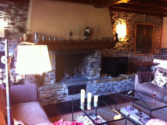 Garos Ostau: salón con chimenea