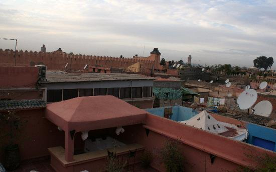 Dar Loula: View of palace walls from roof terrece